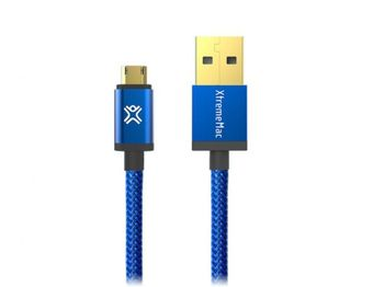 Cable microUSB2.0 1.2m - XtremeMac Reversible microUSB Premium cable, Blue, Full Reversible (USB and microUSB), PET structure, Gold plated connectors