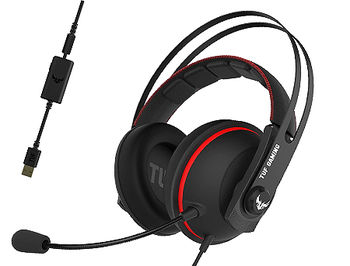 ASUS Gaming Headset TUF Gaming H7 Red, On-board 7.1 virtual surround, Driver 53mm Neodymium, Impedance 32 Ohm, Headphone: 20 ~ 20000 Hz, Sensitivity microphone: -45 dB, Cable 1.2m, USB