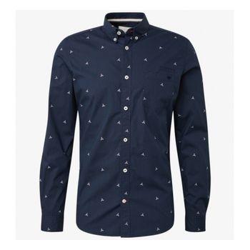 Рубашка TOM TAILOR Темно синий с принтом