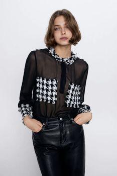 Блуза ZARA Черно-белый 4437/043/800