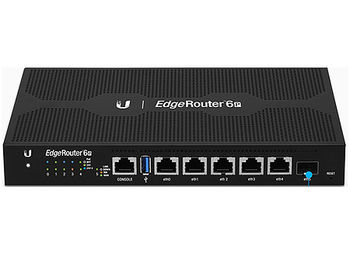 Ubiquiti EdgeRouter 6P ER-6P, CPU 4-Core 1 GHz, 1GB, 3xGigabit RJ45 routing ports, 1xGigabit SFP port, 5xEthernet Ports 10/100/1000, 5xPorts with PoE, 3,400,000 pps 6 Gbps (Line Rate), Silent Fanless
