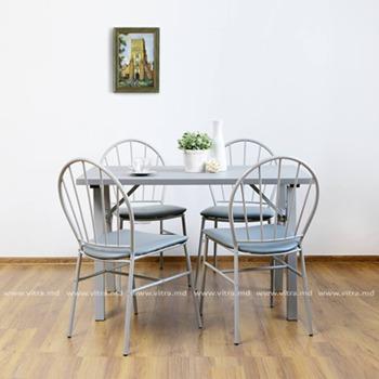 купить Комплект из стола и четырёх стульев из металла и PVC, 1200x760x760 мм,  серый в Кишинёве