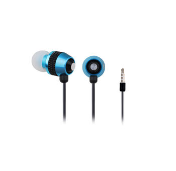 Gembird MHS-EP-002, Earphones with in-line Microphone, Volume control, Stylish metal design, Comfortable soft silicone ear cushions, Cord length: 0.9 m, Black/Blue