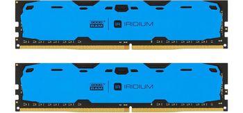8Gb (Kit of 2*4GB) DDR4-2400  GOODRAM  IRDM DDR4 (Dual Channel Kit), PC19200, CL15, Latency 15-15-15, 1.2V, 512x8, Aluminium BLUE heatsink