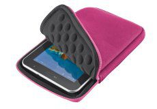 """7/8"""" - Tablet Case - Trust """"Anti-shock Bubble Sleeve"""" Pink, Easy accessible entrance with zipper, Durable neoprene material, Compartment size: 135x200mm (for iPad mini/Kindle Fire/Nexus7/GalaxyTab7"""")"""