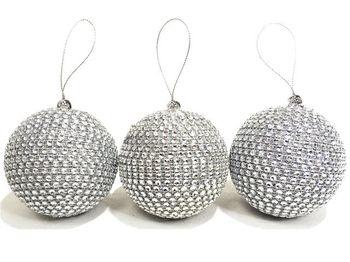 Набор шаров 3штX80mm с бусинками серебрянных