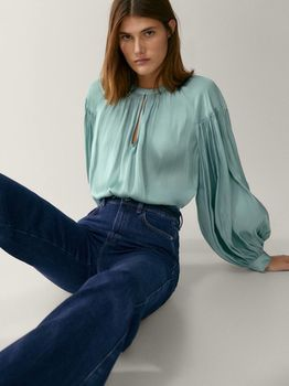 Блуза Massimo Dutti Светло зеленый 5140/587/982