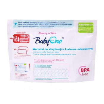 купить BabyOno пакеты для стерилизации в микроволновой печи, 5 шт-100 стерилизаций в Кишинёве