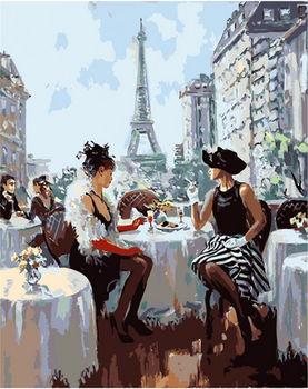 """Картина для росписи по номерам  """"Завтрак в Париже"""" 40х50 см"""