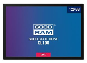 "2.5"" SSD 120GB  GOODRAM CL100 Gen.2, SATAIII, Sequential Reads: 485 MB/s, Sequential Writes: 380 MB/s, Thickness- 7mm, Controller Marvell 88NV1120, NAND TLC"