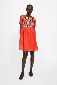 Платье ZARA Оранжевый с принтом 5598/152/600