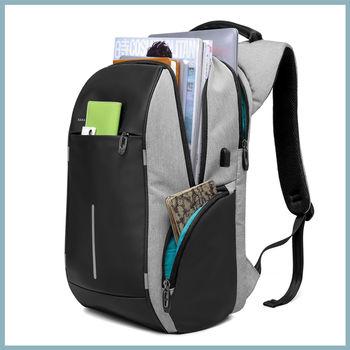 купить Рюкзак KAKA-2215, c отделением для ноутбука 15.6'', с USB портом,водонепроницаемый, cерый в Кишинёве