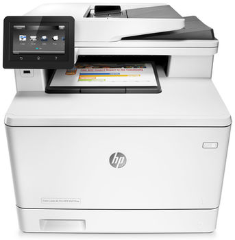 "HP Color LaserJet MFP M477fnw Print/Copy/Scan/Fax, 28ppm, 256 MB, Up to 50000 pages, 50-sheet  ADF, 4,3"" touch display, USB 2.0, Ethernet 10/100/1000, Wi-Fi 802.11b/g/n, HP PCL 5,6; Postcript 3, HP ePrint, AirPrint™, Scan to USB, to email; White"