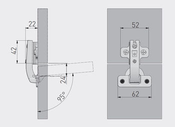 Balama 90° fără amortizor GTV