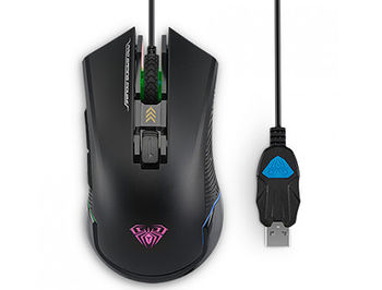AULA Nomad Gaming Mouse, Pixart (A3050), 2000 DPI, 6 Programmable buttons, Backlighting with 6 different colors, 1.8m, USB, gamer (mouse/мышь)