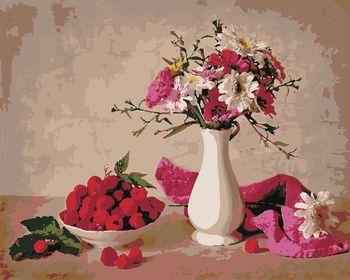 Малина и цветы