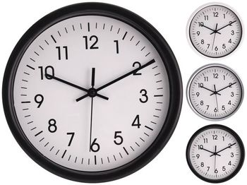 Часы настенные круглые 20cm, H4cm, пластик, 3 цвета