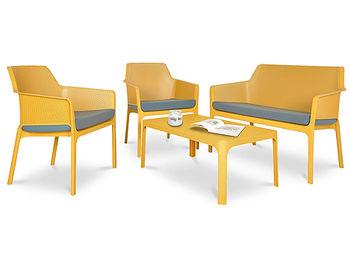 Set mobila de terasa NARDI NET BENCH + 2 fotolii NET RELAX + Masa NET TABLE 100 + Saltele scaune