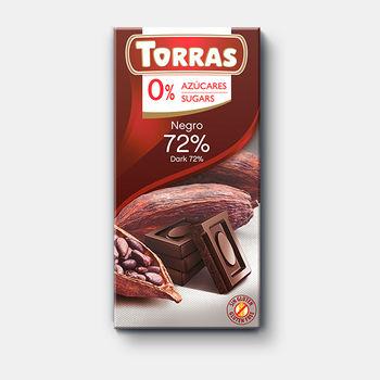 Ciocolată amara 72% cacao f/a zahar f/a gluten Torras 75g