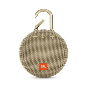 JBL Clip 3 Sand / Bluetooth Portable Speaker, 3W (1x3W) RMS, BT Type 4.1, Frequency response: 120Hz – 20kHz, IPX7 Waterproof, Speakerphone,  1000mAh rechargeable Lithium-ion battery, JBL Connect, Power Supply: 5V / 0.6A, B. life (up to) 10 hr