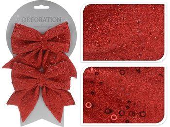 Банты декоративные 2шт 12X13сm, красные с блетсками