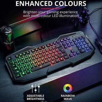 Trust Gaming GXT 830-RW Avonn Keyboard, RU, 12 direct-access media keys, Anti-Ghosting, Gaming mode, USB, Black