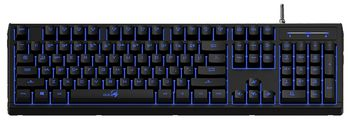 (31310476102) Genius Scorpion K6 Gaming Keyboard, PLUGER switch gives a mechanical-feel, 19 N-keys rollover keys, 12 Function keys, Blue backlit, Spill resistant design, USB, Black