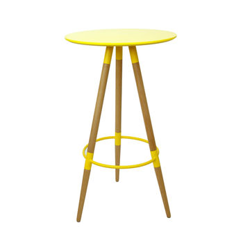 cumpără Masă - bar rotundă cu suprafaţă din MDF şi picior din lemn 600x1050 mm, galben în Chișinău