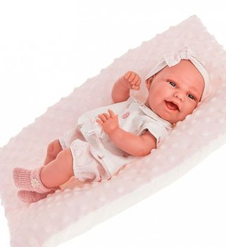 Кукла младенец Клара на розовой подушке, 33 см Код 6028