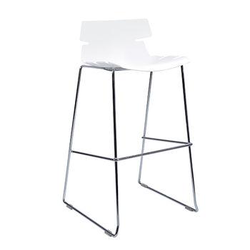 купить Барный стул со специфической сиденией и с хромироваными ножками, белый в Кишинёве