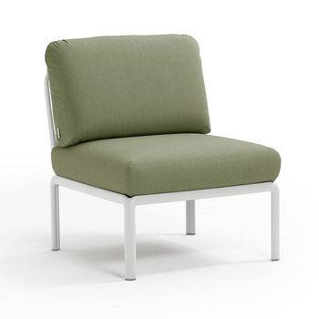 Кресло модуль центральный с подушками Nardi KOMODO ELEMENTO CENTRALE BIANCO-giungla Sunbrella 40373.00.140
