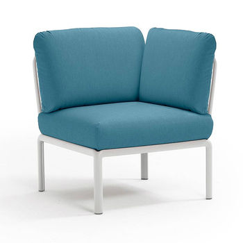 Кресло модуль угловой с подушками Nardi KOMODO ELEMENTO ANGOLO BIANCO-adriatic Sunbrella 40374.00.142