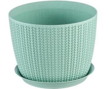 купить Горшок для цветов пластиковый Idea М3120 Вязание белый, 1.9 л в Кишинёве