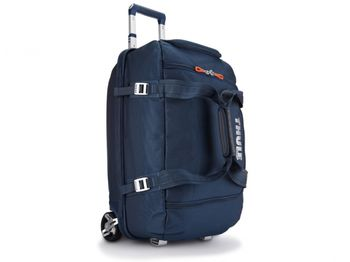 THULE Travel Bag - Crossover 56L Rolling Duffel, Dark Blue, Safe-zone, Dobby Nylon, Dimensions 38 x 32.5 x 64 cm, Weight 3.5 kg, Volume 56L, Gear bag with a wide mouth access to easily load helmets, boots, gloves, jackets and other travel essentials
