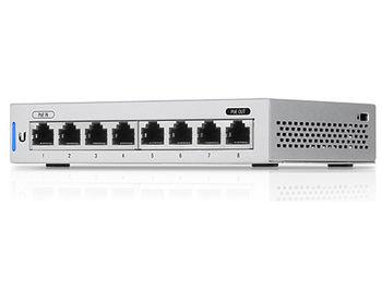 Ubiquiti UniFi Switch 8-ports (US-8), 8x10/100/1000 Mbps RJ45 Ports, 1xPoE Passthrough Port, Non-Blocking Throughput: 8 Gbps, Switching Capacity: 16 Gbps, (retelistica switch/сетевой коммутатор)