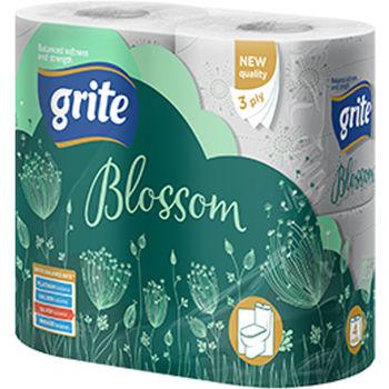 GRITE - Туалетная бумага BLOSSOM 3 слоя 4 рулона 18,75м