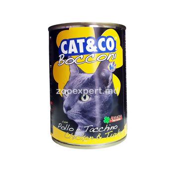 купить Cat & Co кусочки курицы с индейкой 405 gr в Кишинёве
