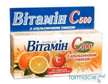 cumpără Acid ascorbic comp. masticab. 500 mg N30 (Portocala) în Chișinău