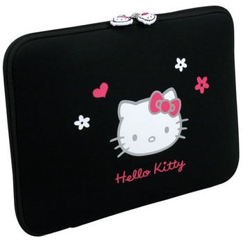 "PORT HELLO KITTY Line / HELLO KITTY SKIN Black Flowers 15.6'' / 15.6""  - Hello Kitty Skin, Hello kitty pullers, elastic straps inside to maintain notebook. Can be fully opened"