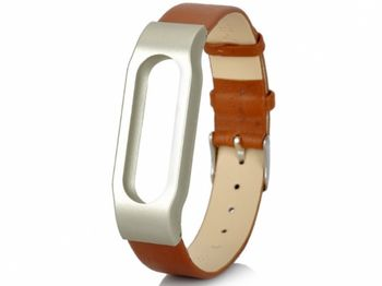 Xiaomi Mi Band Leather Strap for MiBand 1/1S, Brown, Metal holder