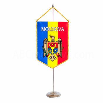купить Вымпел атласный 2-х сторонний на металлическом флагштоке - Герб Молдовы в Кишинёве