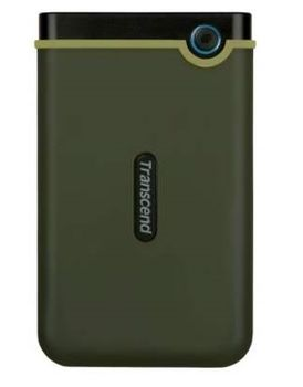 "2.5"" External HDD 2.0TB (USB3.0)  Transcend StoreJet 25M3G Slim, Military Green, MIL-STD-810G 516.6., Durable anti-shock RUBBER outer case,  Advanced internal hard drive suspension system, One Touch Backup, Quick Reconnect Button"