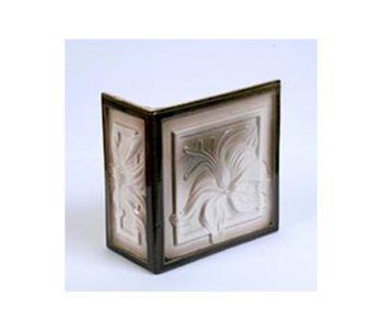Лилия, плитка угол (левый) цвет хаки с белым