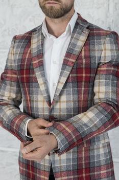 Пиджак мужской в клетку разноцветный