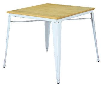 cumpără Masă cu suprafaţa din lemn şi picioare metalice de culoare albă, 800x800x720 mm în Chișinău