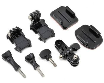 GoPro Grab Bag -give yourself more mounting options and spare parts. Includes Curved and Flat Adhesive Mounts, two Mounting Buckles, a 3-Way Pivot Arm, plus a variety of short and long thumb screws, compatible with all GoPro cameras.