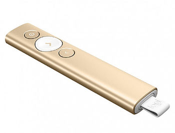 Logitech Spotlight Presentation Remote Gold, Bluetooth & 2.4 GHz wireless connection, Up to 30-meter range, Battery Rechargeable Lithium Polymer 85mAh, 910-004862