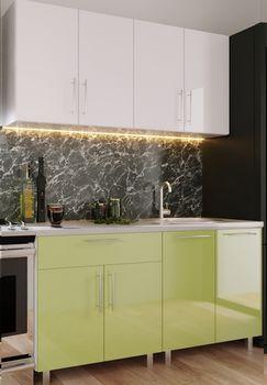 Кухонный гарнитур Bafimob Mini (High Gloss) 1.4m White/Green