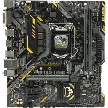 ASUS TUF B360M-E GAMING, Socket 1151, Intel® B360 (9th/8th Gen CPU), Dual 2xDDR4-2666, 1xPCIe X16, CPU Intel graphics, DVI, HDMI, 6xSATA3, 2xPCIeX1, 1xM.2, ALC887 HDA, GbE LAN, 2xUSB3.1 Gen 2, 4xUSB3.1, Aura Sync, TUF comp, 24/7, mATX