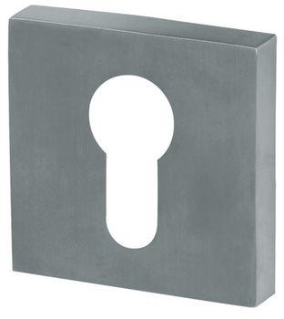 Дверная ручка на розетке Alaska-Q никель сатин + накладка под цилиндр